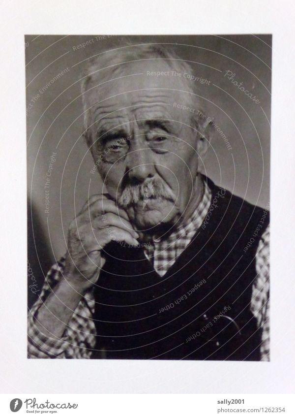 aus dem Familienalbum... maskulin Männlicher Senior Mann Großvater Leben 1 Mensch 60 und älter Hemd pullunder Bart Oberlippenbart alt Freundlichkeit natürlich