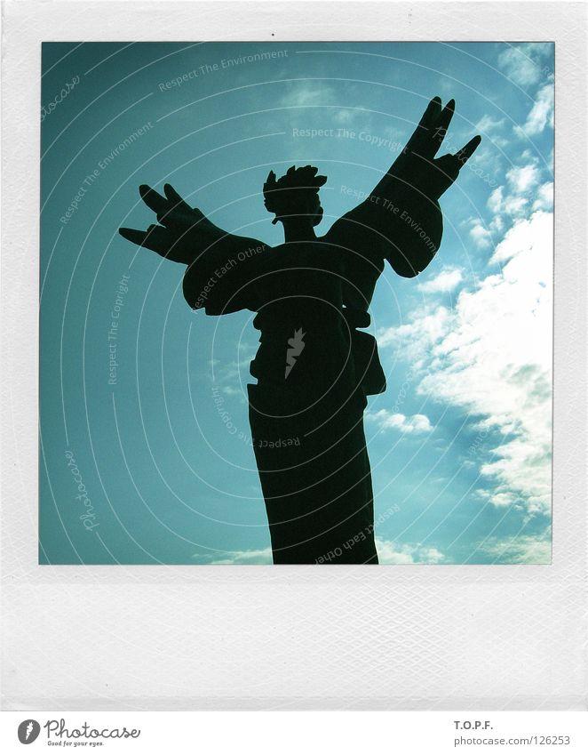Wurzeln und Flügel Statue Büste Griechenland himmlisch heilig Ewigkeit historisch Engel Olympiade selig himmlicher Wächter Seraphim Himmelsbote Polaroid
