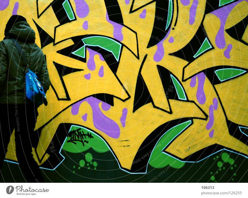 2ADDICTED Mensch Jugendliche grün Stadt Farbe gelb Straße Graffiti Bewegung Stil Kunst Hintergrundbild rosa warten frisch stehen