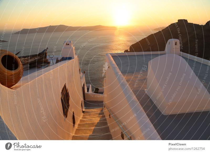 Griechenland, Santorin Lifestyle Reichtum harmonisch ruhig Ferien & Urlaub & Reisen Tourismus Kreuzfahrt Sommerurlaub Insel Kunst Sonnenaufgang Sonnenuntergang