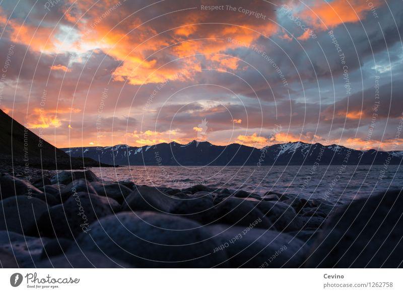 Sonnenuntergang in Bíldudalur, Island Natur Landschaft Luft Wasser Himmel Wolken Sonnenaufgang Sommer Wetter Schönes Wetter Berge u. Gebirge Gipfel