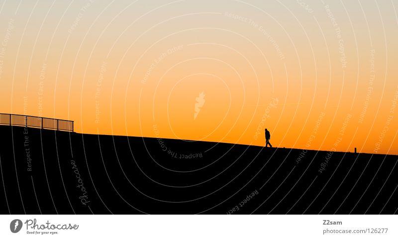 allein auf weiter flur Einsamkeit Mann Sonnenuntergang Physik gehen Leitersprosse schwarz Erholung Mensch Himmelskörper & Weltall Wärme scharz Silhouette laufen