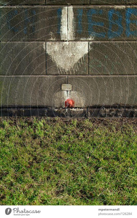 red spot Mitte Detailaufnahme arrow grafiti meadow stone white horizon black Einkaufszentrum Mauer