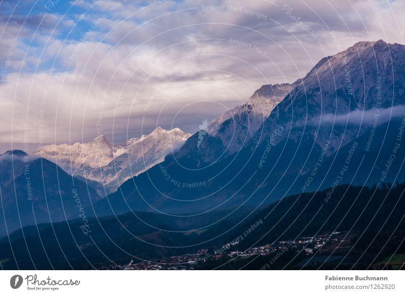 diesiger Morgen Natur Landschaft Tier Himmel Wolken Sonne Herbst Wetter Nebel Wald Alpen Berge u. Gebirge Gipfel Dorf blau grau grün schwarz weiß