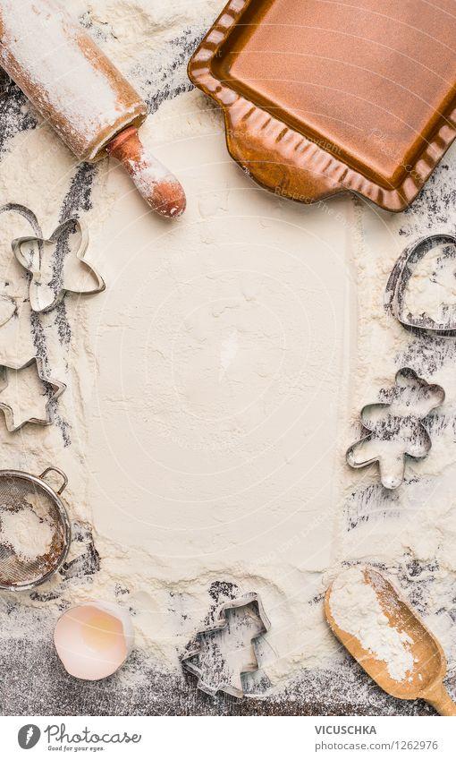 Plätzchen für Weihnachten backen. Mehl Hintergrund. Weihnachten & Advent Stil Hintergrundbild Feste & Feiern Lebensmittel Party Design Ernährung Tisch
