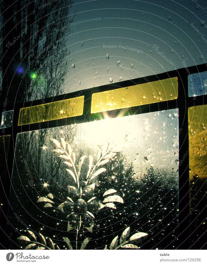 why worry... Regen Fenster dunkel Baum Unwetter Sturm Stimmung Sonne Sonnenstrahlen Flachglas Löten Glaser Glasbläser Kunst Handwerk Glasmalerei Kunsthandwerk