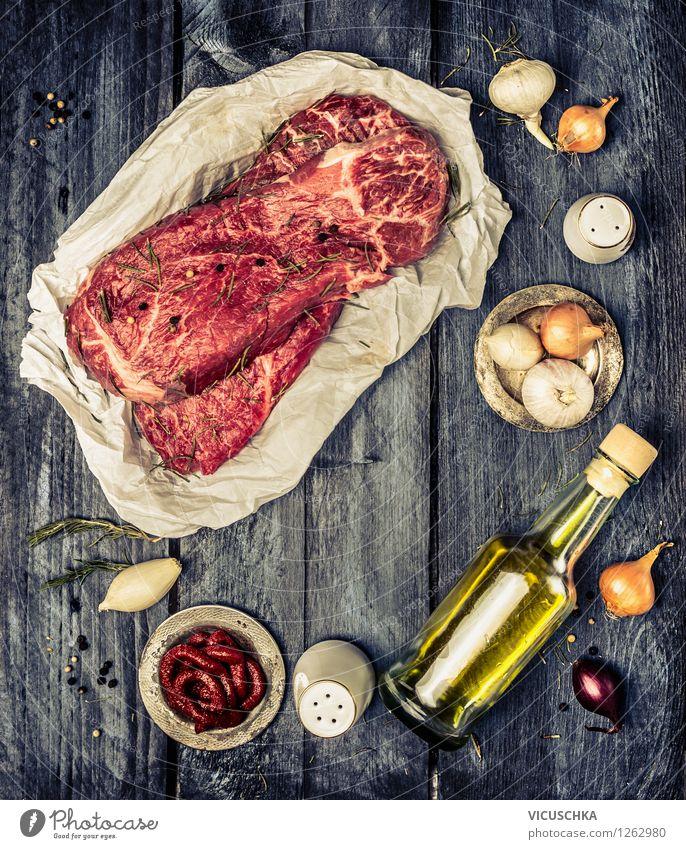 Marmorierte Rindfleisch und Zutaten fürs Kochen Gesunde Ernährung Leben Stil Hintergrundbild Foodfotografie Lebensmittel Design Tisch Kochen & Garen & Backen