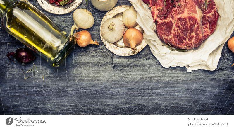 Zutaten für Fleisch Gerichte Gesunde Ernährung Haus Leben Stil Hintergrundbild Lebensmittel Design Tisch retro Kräuter & Gewürze Küche Fahne Bioprodukte Grillen