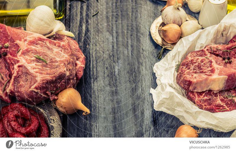 Marmoriertes Fleisch und Zutaten fürs Zubereiten Gesunde Ernährung Leben Stil Hintergrundbild Lebensmittel Design Ernährung Tisch retro Kräuter & Gewürze Küche Gemüse gut Bioprodukte Fleisch Abendessen