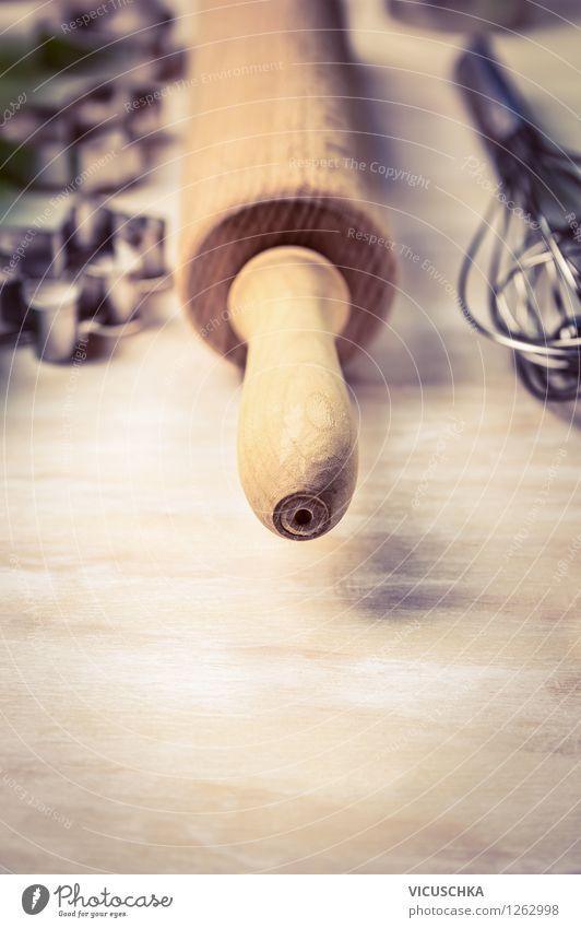Teigrolle und Handgeräte fürs Backen Haus Stil Hintergrundbild Feste & Feiern Design Tisch Dinge Kochen & Garen & Backen retro Symbole & Metaphern Kuchen Gerät
