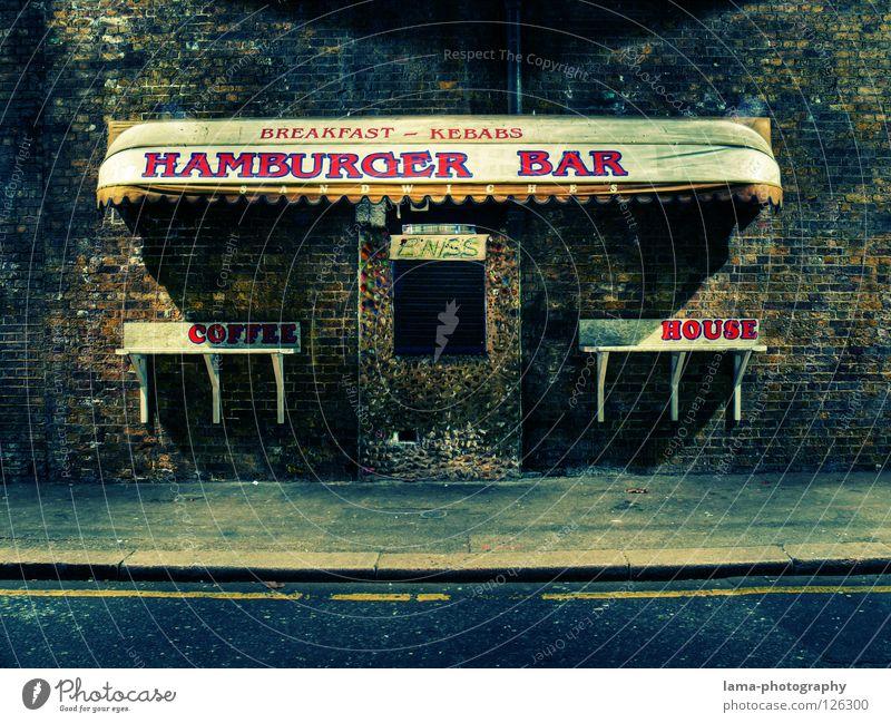 Breakfast Kebabs alt Einsamkeit Straße Ernährung Fenster Mauer Wege & Pfade Schilder & Markierungen geschlossen retro Bar Gastronomie Backstein Werbung Bürgersteig Restaurant