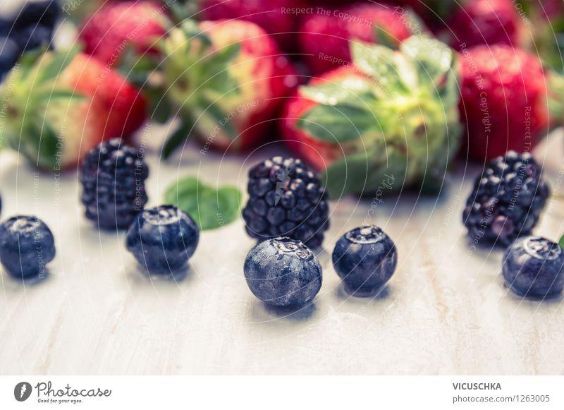 Frische Garten Beeren Lebensmittel Frucht Dessert Ernährung Bioprodukte Vegetarische Ernährung Diät Saft Stil Design Gesunde Ernährung Sommer Tisch Natur