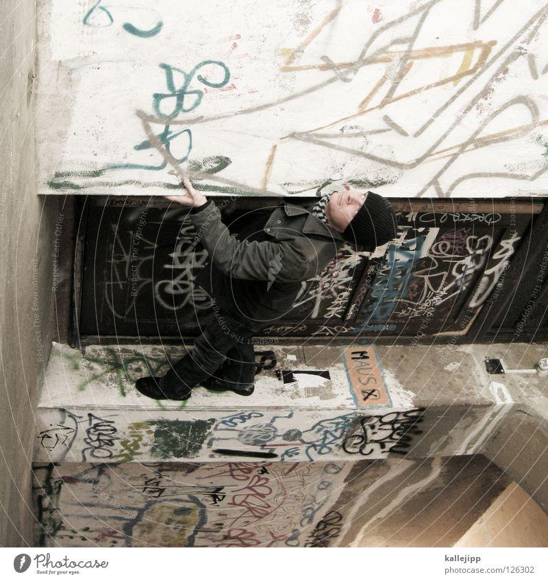 schwerkraft Mann Silhouette Dieb Krimineller Rampe Laderampe Fußgänger Schacht Tunnel Untergrund Ausbruch Flucht umfallen Fenster Parkhaus Geometrie Gegenlicht