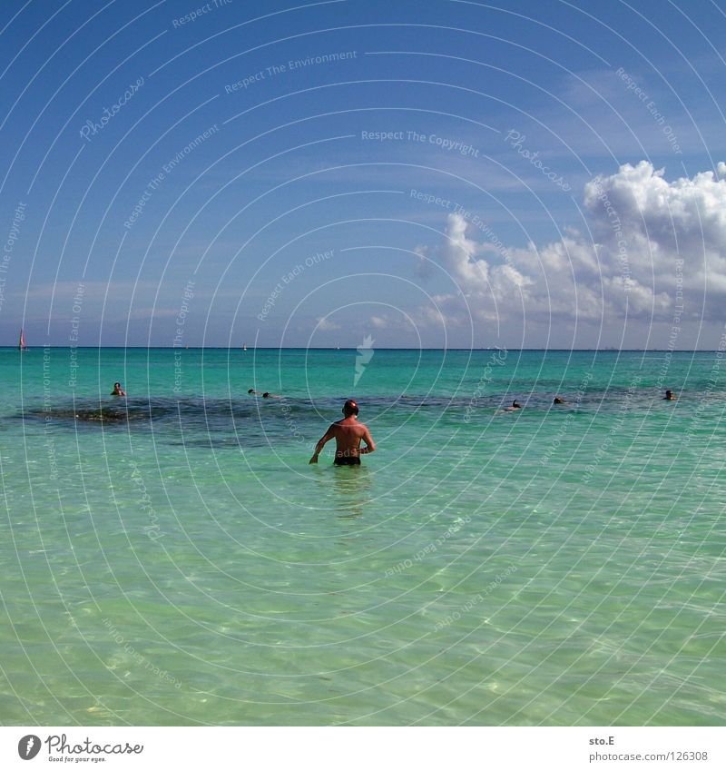korallentauchen Mensch Himmel Mann blau Wasser Ferien & Urlaub & Reisen Meer Strand Freude Farbe Wolken Erholung Ferne dunkel Horizont Wasserfahrzeug
