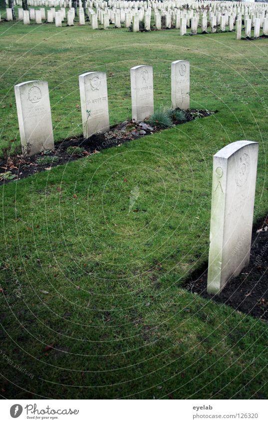 Der Tod verlangt nach Ordnung Friedhof Vergangenheit Grab ruhig Park grau grün Grabmal Trauer Verzweiflung Vergänglichkeit garbstein Ende grabpflege Rasen Reihe
