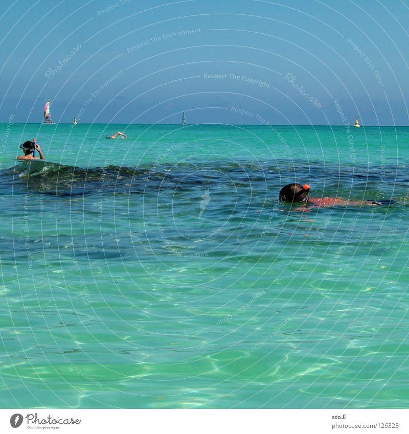korallentauchen pt.2 Mensch Himmel Mann blau Wasser Ferien & Urlaub & Reisen Meer Strand Freude Wolken Farbe Ferne Erholung dunkel Horizont Wasserfahrzeug