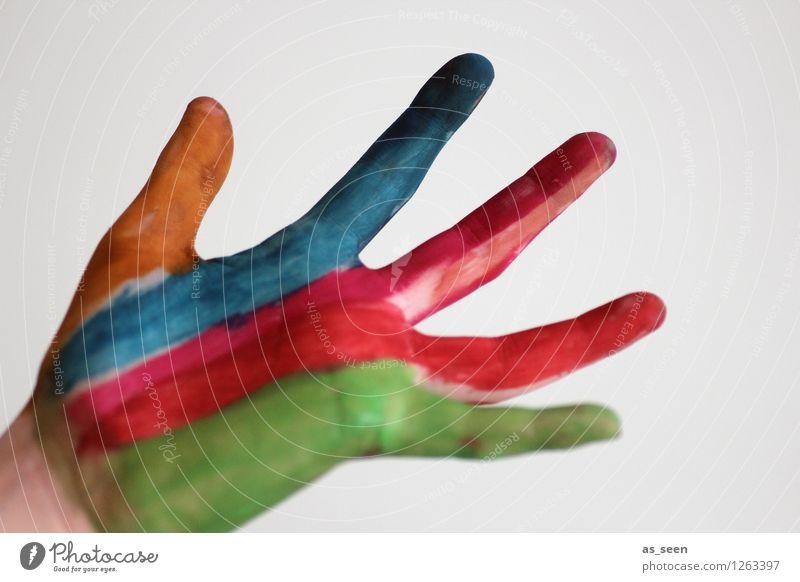 Kreativität Kind blau grün Farbe Hand rot Freude Farbstoff Gefühle Bewegung Kunst orange Design modern Kraft Kindheit