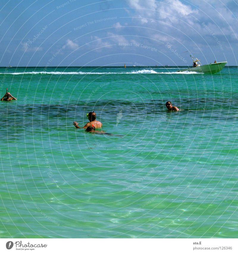 korallentauchen pt.3 Mensch Himmel Mann blau Wasser Ferien & Urlaub & Reisen Meer Strand Freude Wolken Farbe Ferne Erholung dunkel Horizont Wasserfahrzeug
