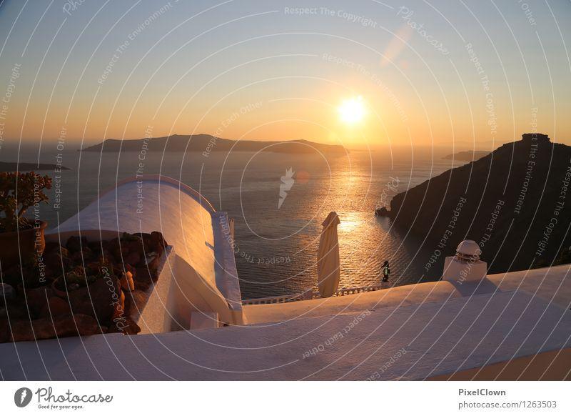 Santorin Ferien & Urlaub & Reisen Wasser Sonne Meer ruhig Strand Architektur Gefühle Stil Lifestyle braun orange träumen Tourismus elegant Insel