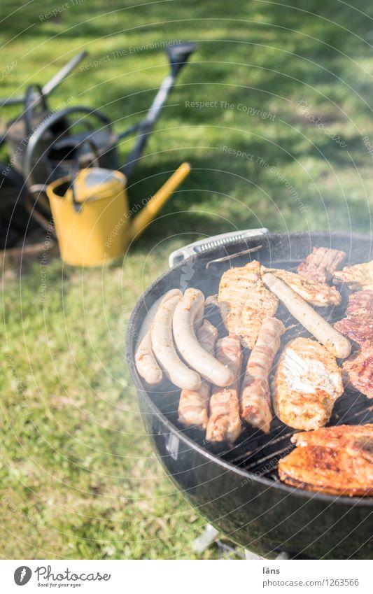 vielfältig l ... Feste & Feiern Essen Grillen Natur Sommer Garten Wiese warten Freizeit & Hobby Gießkanne Wurstwaren Fleisch Außenaufnahme Menschenleer