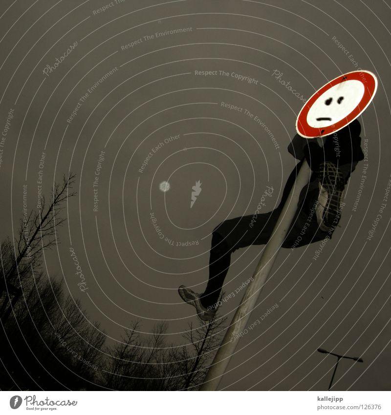 :-| Mensch Himmel Hand Freude Gesicht schwarz gelb Wege & Pfade Lampe Kunst Arme Schilder & Markierungen Erfolg Suche Streifen Hinweisschild
