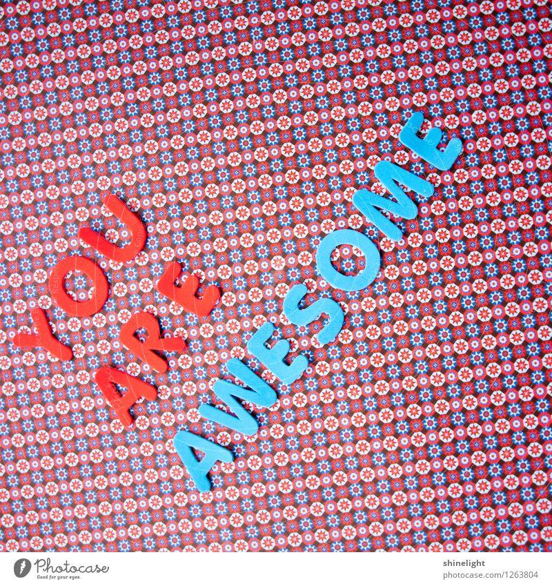 you are awesome blau rot Gefühle außergewöhnlich Stimmung Freundschaft Schriftzeichen fantastisch Kommunizieren Team Partnerschaft Sympathie beeindruckend wunderbar