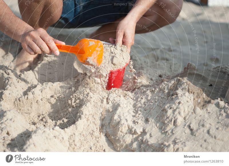 buddeln Ferien & Urlaub & Reisen Abenteuer Sommer Sommerurlaub Sonne Sonnenbad Strand Meer Insel Eltern Erwachsene Vater Hand 1 Mensch 30-45 Jahre Spielen