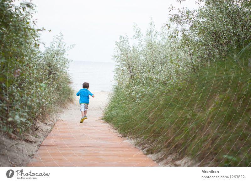 schneller höher weiter Mensch Kind Natur Ferien & Urlaub & Reisen Sommer Meer Freude Strand Junge Freiheit Wellen Kindheit authentisch laufen Insel Ausflug