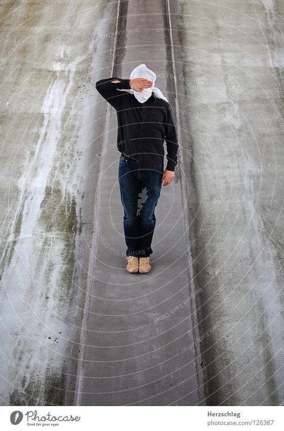 Stand Mann 1 Hand grau Kommunizieren Reihe Langeweile links rechts blind Parkdeck Photo-Shooting Turban Landkreis Fulda