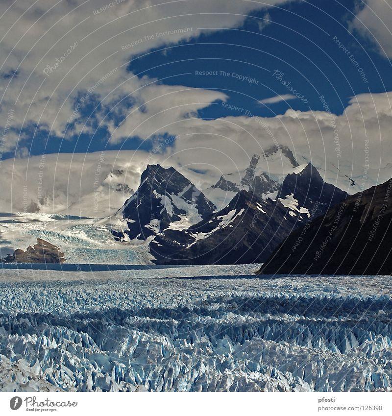 Campo de Hielo Sur Himmel Natur blau schön Wasser weiß Einsamkeit Wolken Winter kalt Berge u. Gebirge Stein Eis Wachstum Wind laufen