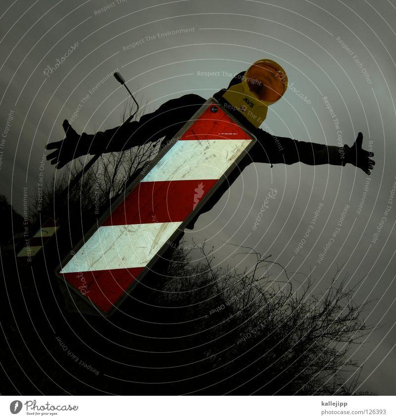 durschnittsmensch Mensch Himmel Hand Freude Gesicht schwarz gelb Wege & Pfade Lampe Kunst Arme Schilder & Markierungen Erfolg Suche Streifen Hinweisschild