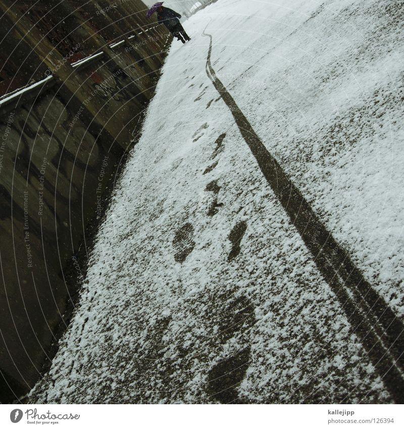 friedhofsmauer Mensch Stadt Winter Schnee Wege & Pfade grau Sand Mauer Eis Regen Arbeit & Erwerbstätigkeit Wetter Frost Ziel Spuren Fußweg