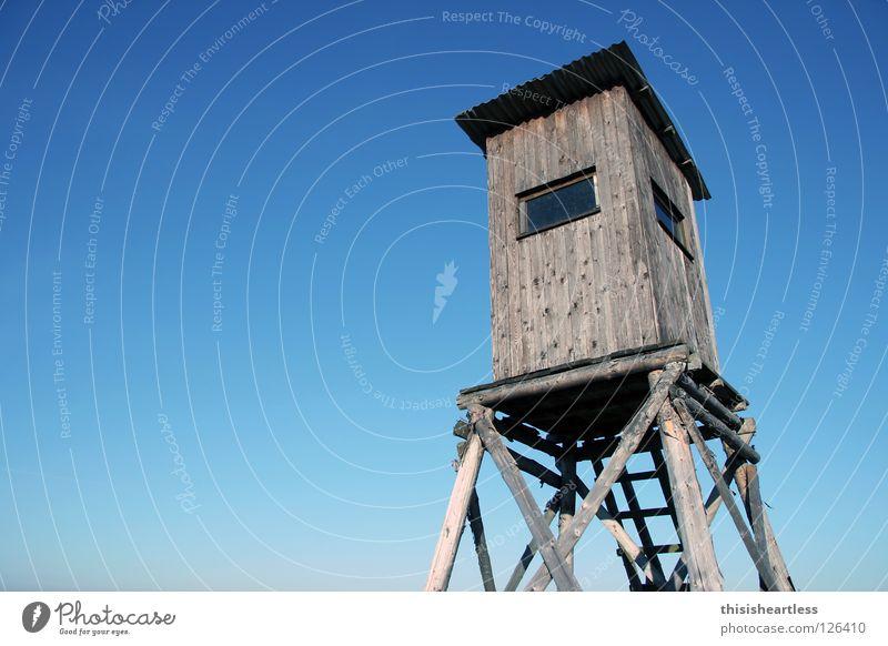 auf'm Hochsitz Jäger überblicken Reh Jagd Flinte schießen Treffer Holz Holzbrett Wellblech Blechdach Dachdecker Fenster Loch himmelblau Farbverlauf standhaft