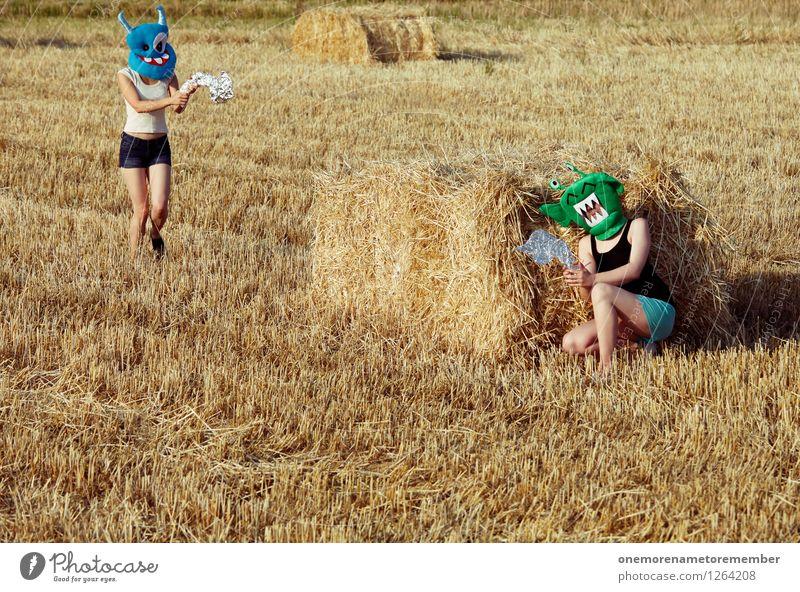 charge! Freude Kunst ästhetisch Maske verstecken Konflikt & Streit Krieg Kostüm Kunstwerk Stroh Monster spaßig Spaßvogel Laser Angriff Außerirdischer
