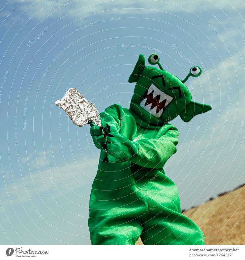 I've got a gun grün Freude lustig Kunst ästhetisch Karneval Konflikt & Streit Landen Aggression Kunstwerk Kostüm Karnevalskostüm Monster verkleiden spaßig Pistole