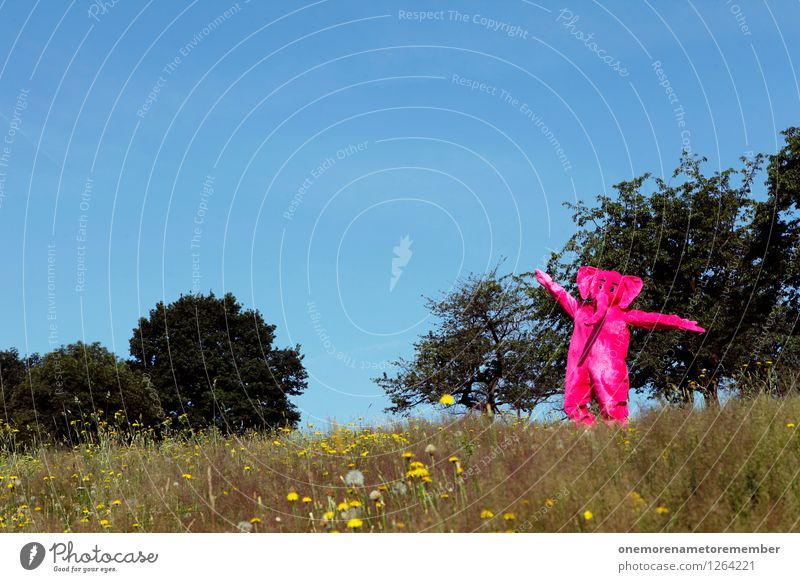 Happy Kunst Kunstwerk ästhetisch Elefant Tier Eyecatcher rosa Farbfleck Wiese Wiesenblume Natur Freude spaßig Spaßvogel Spaßgesellschaft Tanzen Glück