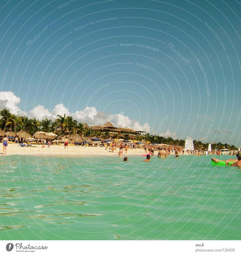 strandtreiben Mensch Himmel Mann Natur blau Wasser Ferien & Urlaub & Reisen Baum Pflanze Meer Strand Freude Farbe Wolken Erholung Ferne