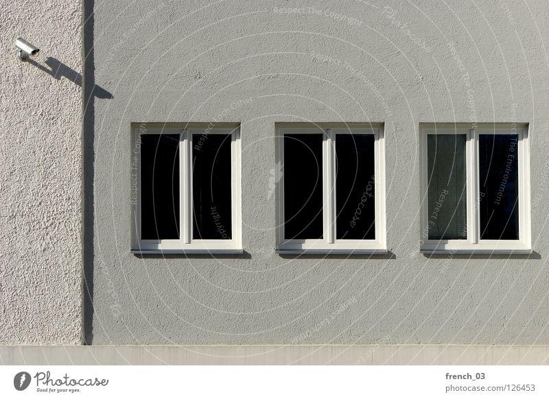 Großer Bruder wacht über dich Leben Fenster Wand Freiheit grau Mauer Linie Kraft frei 3 Macht einzigartig Technik & Technologie Bild Netz beobachten