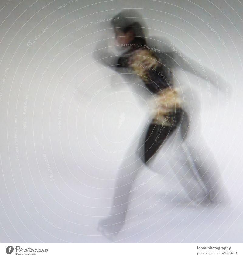 Get going [PIXELS IN MOTION] Mensch weiß schwarz Bewegung Eis Tanzen elegant Geschwindigkeit drehen Sportveranstaltung Belichtung Drehung Schlittschuhlaufen Schlittschuhe Fototechnik abstrakt
