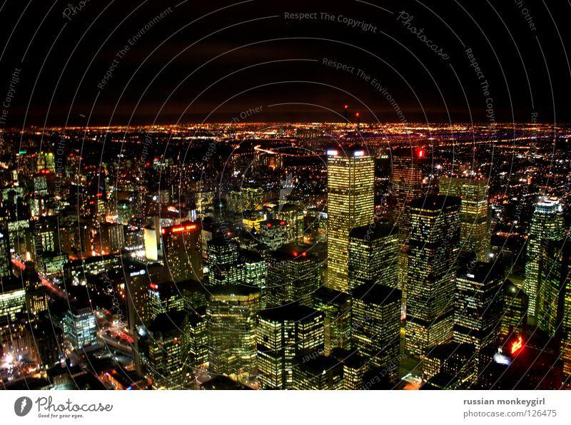 kanadische skyline - toronto Kanada dunkel Hochhaus Haus Beleuchtung Horizont Toronto Skyline Licht