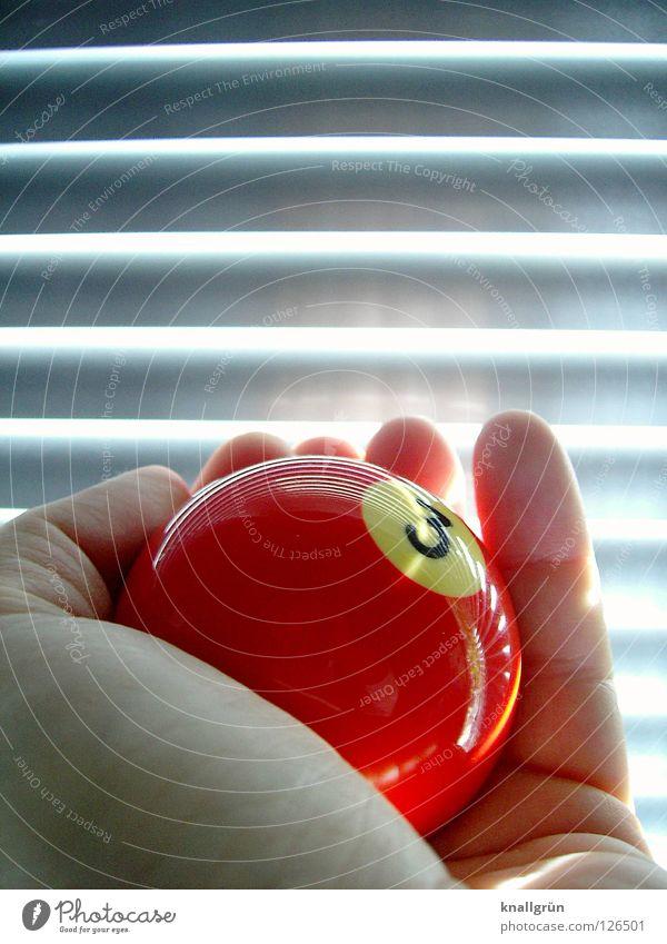 Glückszahl Hand rot Spielen hell Freizeit & Hobby glänzend 3 rund Ziffern & Zahlen Ball Kugel silber Lamelle Billard Jalousie Glückszahl