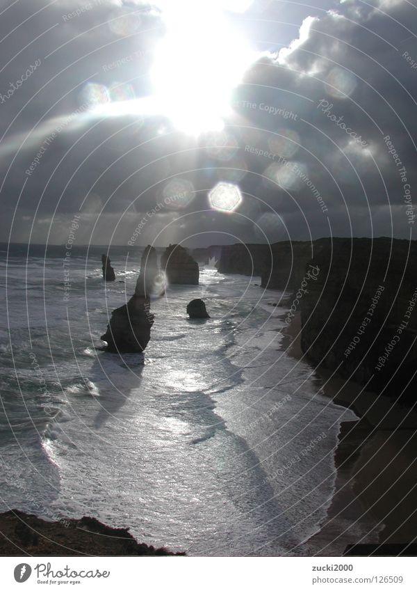 Great Ocean Road Wasser Sonne Meer Wolken Wind groß Felsen Australien Brandung Rauschen