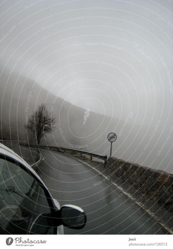 Überholen erlaubt! Baum Wolken Berge u. Gebirge PKW Regen Nebel gefährlich fahren unheimlich ungewiss überholen