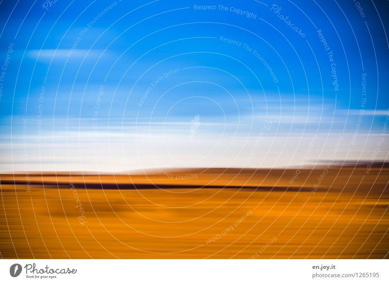 Getreidefeld Himmel Natur Ferien & Urlaub & Reisen blau Sommer Landschaft Ferne Umwelt gelb Bewegung Horizont träumen Tourismus Feld gold Fröhlichkeit