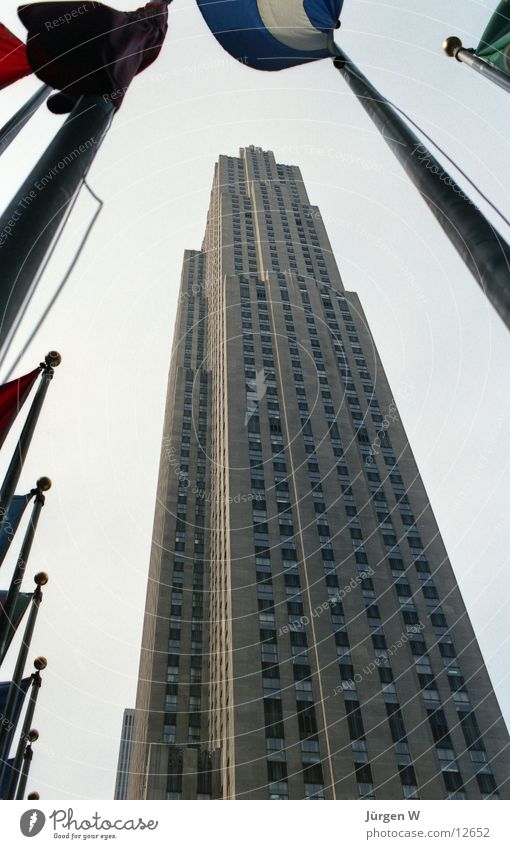 Rockefeller Center Gebäude Hochhaus USA Fahne historisch New York City Nordamerika