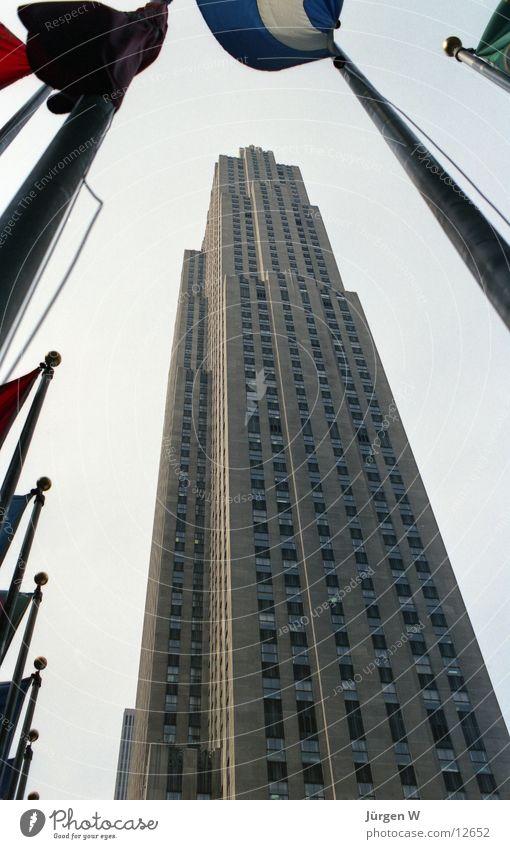 Rockefeller Center Gebäude Hochhaus USA Fahne historisch New York City Nordamerika Rockefeller Center