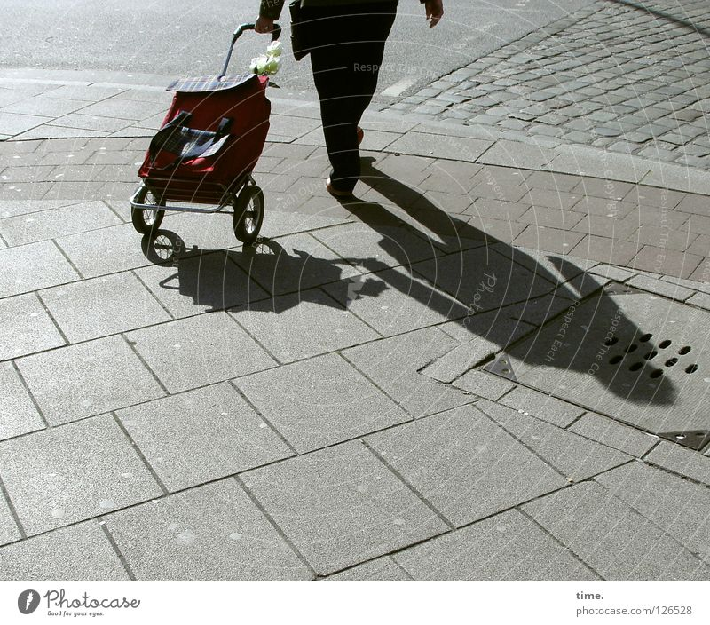 ... und Schokokekse! kaufen Wagen Rollkragenpullover Transporter Bürgersteig Beton Überqueren dunkel schwarz Verkehrswege Senior Konzentration Schatten Straße
