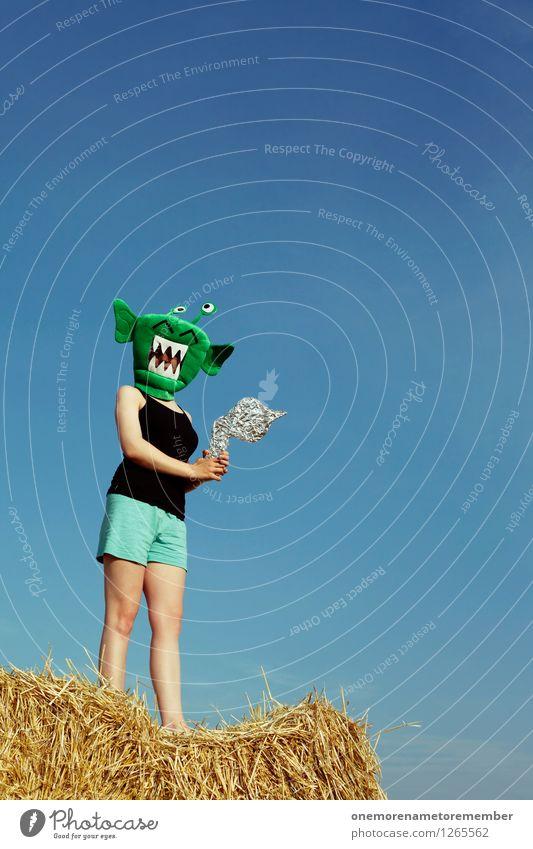 NA KOMM DOCH! Jugendliche grün Freude lustig feminin Kunst ästhetisch Jugendkultur Abenteuer Maske Karneval Kunstwerk Blauer Himmel Karnevalskostüm Monster