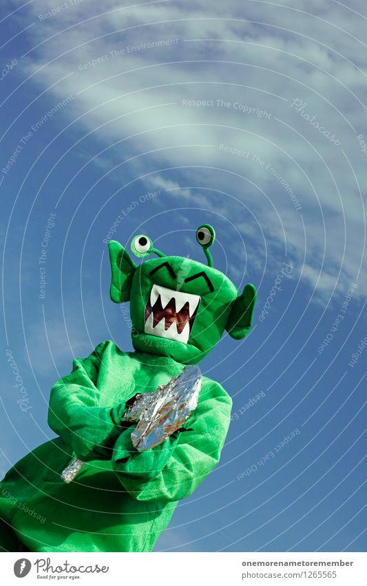 EASY! grün Kunst ästhetisch bedrohlich Karneval Surrealismus Kunstwerk Karnevalskostüm Monster Waffe Pistole Außerirdischer Laser außerirdisch verkleidet