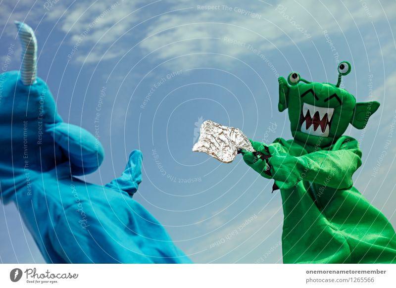 FREEZE! Kunst Kunstwerk Abenteuer ästhetisch Außerirdischer Monster außerirdisch Ungeheuer ungeheuerlich bedrohlich Pistole Laser grün blau Blauer Himmel